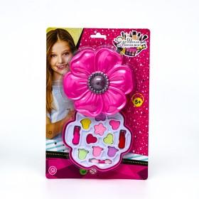 Набор косметики для девочки тени с блестками 9 гр, помада 1,6 гр, аппликатор
