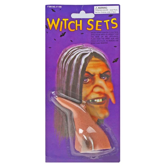 Прикол «Нос ведьмы с бородавкой», тёмный, на блистере