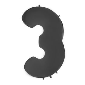 """Шар фольгированный 40"""" «Цифра 3», цвет чёрный"""