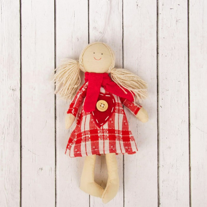 Кукла интерьерная «Маруся», сердце с пуговкой на платье, цвета МИКС