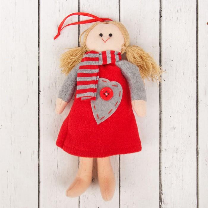 Кукла интерьерная «Оксана», сердце с пуговкой на платье, цвета МИКС