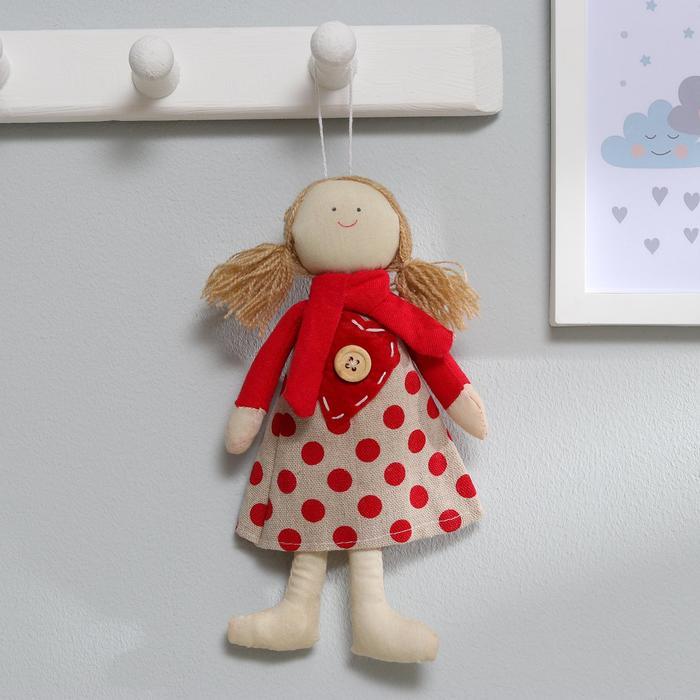 Кукла интерьерная «Оксана», платье в горошек с сердцем, цвета МИКС