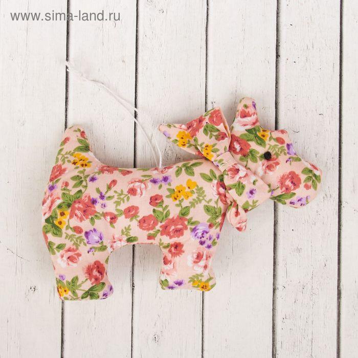 """Мягкая игрушка-подвеска """"Собачка"""" в цветочек, цвета МИКС"""