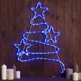 Фигура дюралайт 'Елочка со звездами' 47х71 см,96/16 LED,мерцание,220V СИНИЙ-БЕЛЫЙ Ош