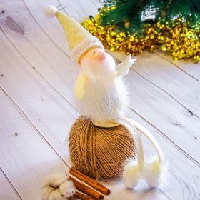 "Мягкая фигурка ""Дед Мороз - волшебник"" 7*22 см белый"