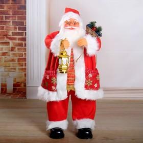 """Дед Мороз """"Красная шубка со снежинками, в очках, с фонариком"""" двигается с подсветкой, 70 см"""
