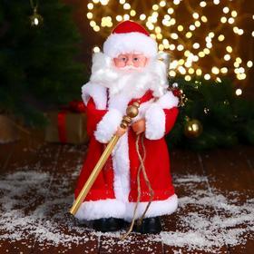 Дед Мороз, в красной шубе, с посохом
