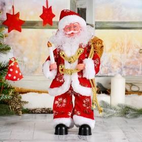Дед Мороз, со свечкой, в костюме, с подсветкой, без музыки, двигается