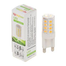 Лампа светодиодная G9, 220V, 3 Вт, 3000 K, 320° сверхяркая 110 lm/w, прозрачная