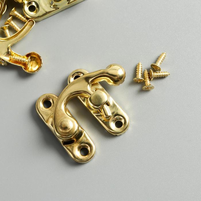 "Замок металл для шкатулки ""Крючок"" золото набор 4 шт 2,7х2,5 см - фото 700696992"