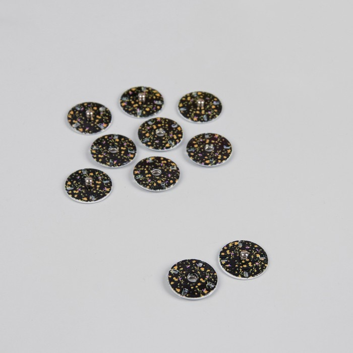 """Кнопки декоративные пришивные """"Цветы"""", d=17мм, 5шт, цвет чёрный"""
