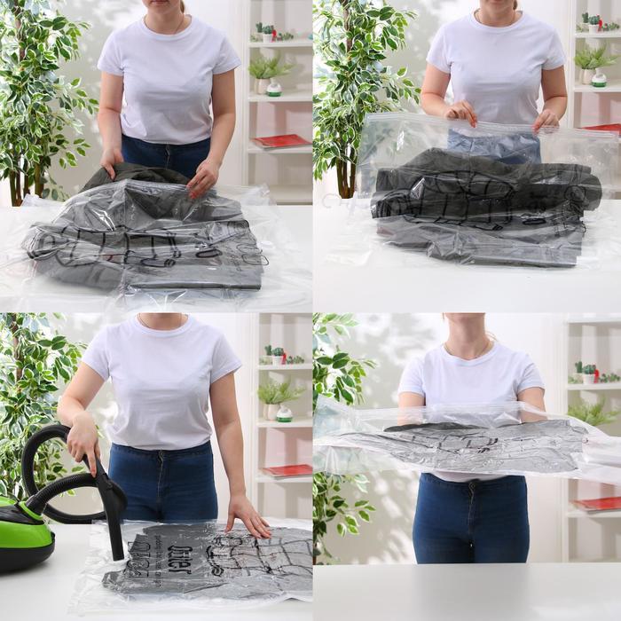 Вакуумный пакет для хранения одежды с крючком 67×90 см