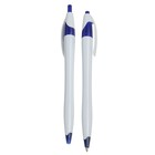 Ручка шариковая, автоматическая, корпус белый с синим, стержень синий 0.5 мм
