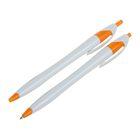 Ручка шариковая, автоматическая, корпус белый с оранжевым, стержень синий 0.5 мм