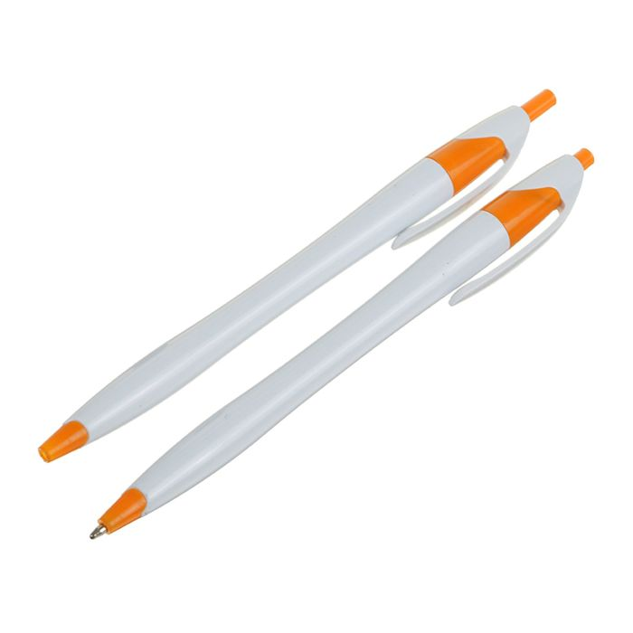 Ручка шариковая автоматическая Лого корпус белый с оранжевым стержень синий CALLIGRATA