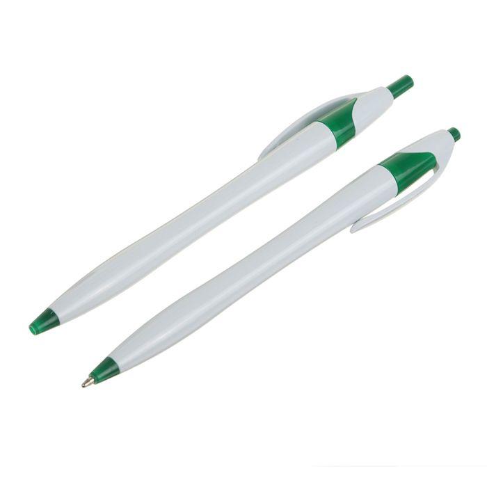 Ручка шариковая автоматическая Лого корпус белый с зеленым стержень синий 0,5мм CALLIGRATA 239139