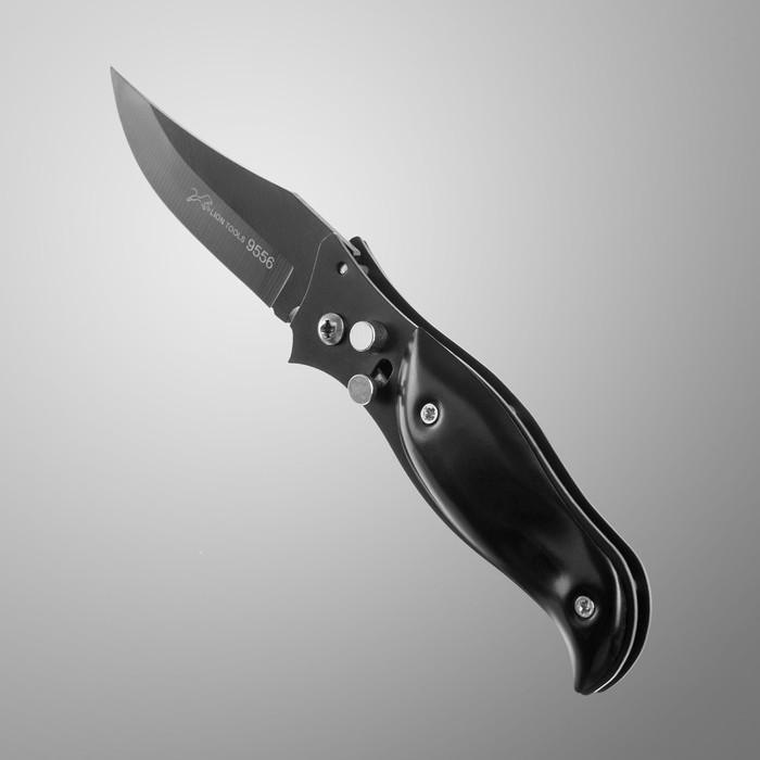 Нож складной, лезвие 7,5см, черный матовый с вкраплен., рукоять 9,5см, фиксатор - фото 419770