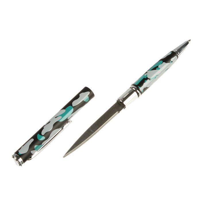 Нож-ручка, лезвие копьеобразное 5,5см, камуфляжный цвет, рукоять 7,2см