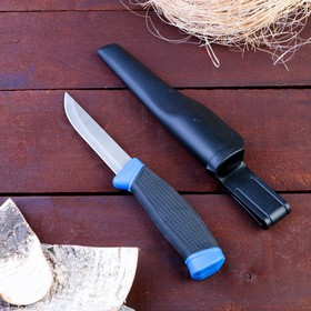 Нож туристический, лезвие 9,5см, рукоять черная с синим вставками, пластмассовые ножны в Донецке