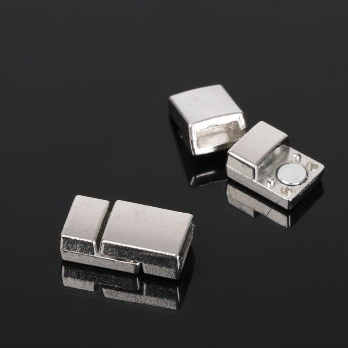 Замок-защёлка магнитный для браслета 5339, (набор 2шт), цвет серебро