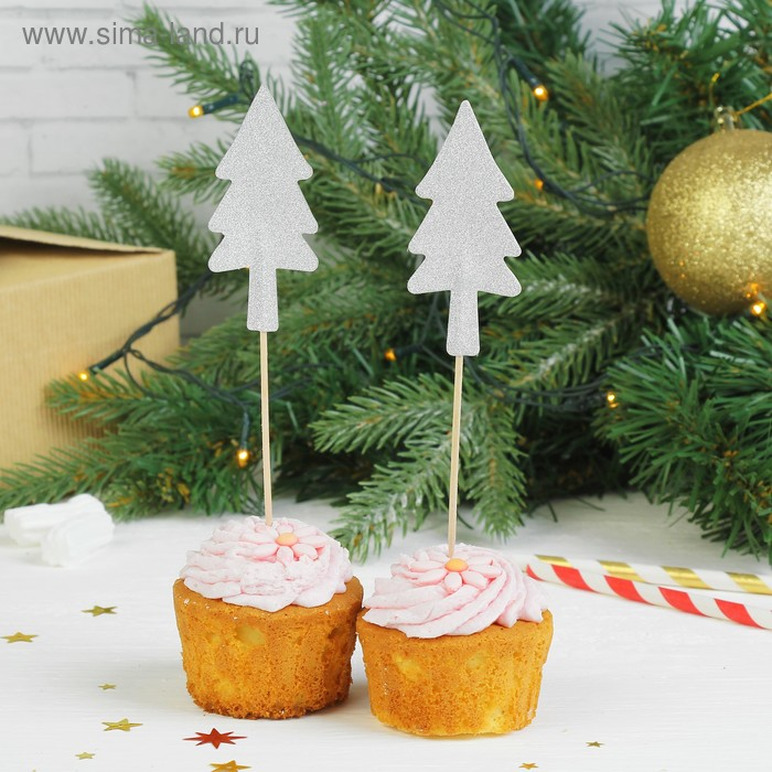 """Skewers """"Christmas trees in the snow"""" (set of 12 PCs)"""