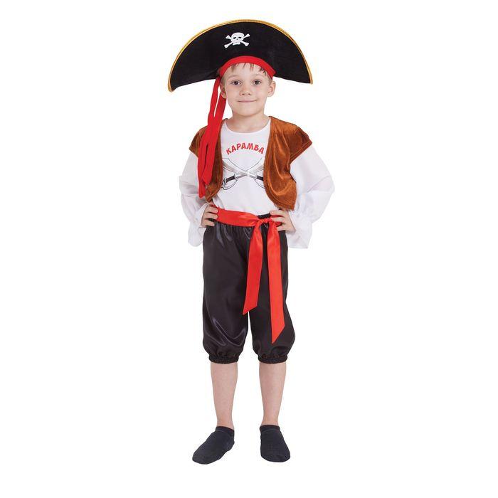 "Костюм пирата ""Карамба"" шляпа, джемпер с жилетом бриджи, пояс размер 32 рост 122-128 - фото 1733741"