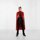 """Карнавальный костюм """"Мефистофель"""", накидка, рожки, цвет красный, длина 120 см"""