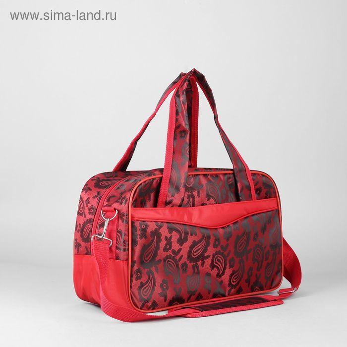 Сумка дорожная на молнии, 1 отдел, 2 наружных кармана, ремень, цвет красный
