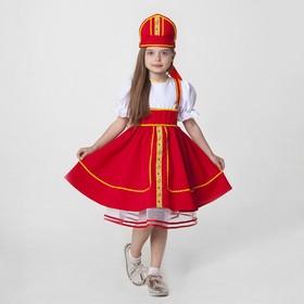 Русский народный костюм, кокошник, сарафан с рубашкой, цвет красный, рост 122-128, 6-7 лет