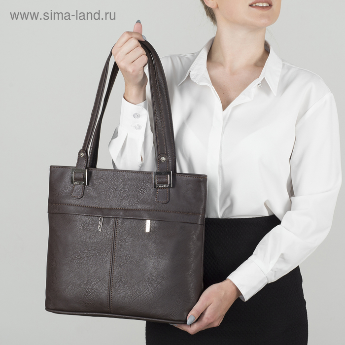 Сумка женская, отдел с перегородкой на молнии, 3 наружных кармана, цвет коричневый
