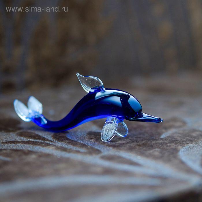 """Сувенир из стекла миди """"Дельфин"""", 9,5 х 4,5 х 2 см"""