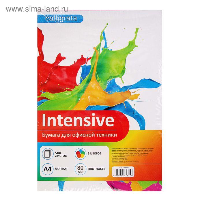 Бумага цветная А4, 500 листов Calligrata Intensive, 80г/м2, 5 цветов