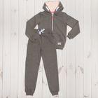 Костюм спортивный для девочки, рост 164 см, цвет тёмно-серый меланж 1119