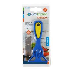 Скребок для стеклокерамических плит Euro Kitchen цвет синий/желтый, 1 шт (+ 5 лезвий)