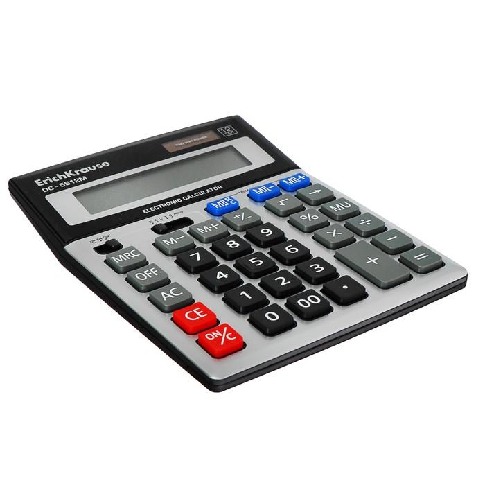 Калькулятор настольный 12-разрядный Erich Krause DC-5512M, серебряный - фото 504888483