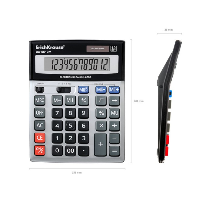 Калькулятор настольный 12-разрядный Erich Krause DC-5512M, серебряный - фото 504888484