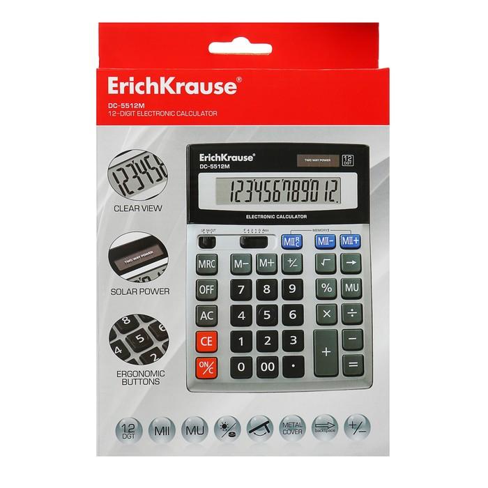 Калькулятор настольный 12-разрядный Erich Krause DC-5512M, серебряный - фото 504888487