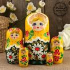 Матрёшка «Ромашки», жёлтый платок, 5 кукольная, 17 см