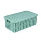 Корзина для хранения с крышкой IDEA «Вязание», 3 л, 27×15×10 см, цвет фисташковый - фото 308327098