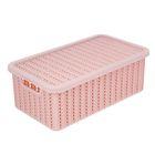Корзина для хранения с крышкой IDEA «Вязание», 3 л, 27×15×10 см, цвет розовый - фото 302296762