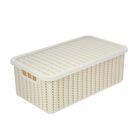 Корзина для хранения с крышкой IDEA «Вязание», 6 л, 35×20×13 см, цвет белый - фото 308327100
