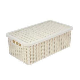 Корзина для хранения с крышкой IDEA «Вязание», 6 л, 35×20×13 см, цвет белый