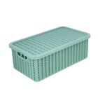 Корзина для хранения с крышкой IDEA «Вязание», 6 л, 35×20×13 см, цвет фисташковый - фото 308327102