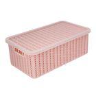 Корзина для хранения с крышкой IDEA «Вязание», 6 л, 35×20×13 см, цвет розовый - фото 308327104