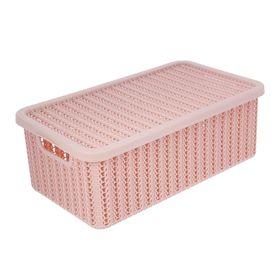 Корзина для хранения с крышкой IDEA «Вязание», 6 л, 35×20×13 см, цвет розовый