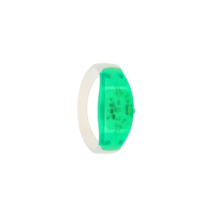 Браслет-стробоскоп реагирует на звук, 3 LED, батарейки в комплекте (2 x CR 1625), ЗЕЛЁНЫЙ