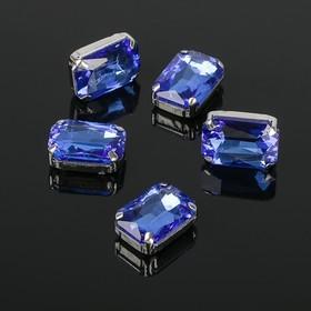 Стразы в цапах без отверстий (набор 5шт), 10*14мм, цвет синий в серебре