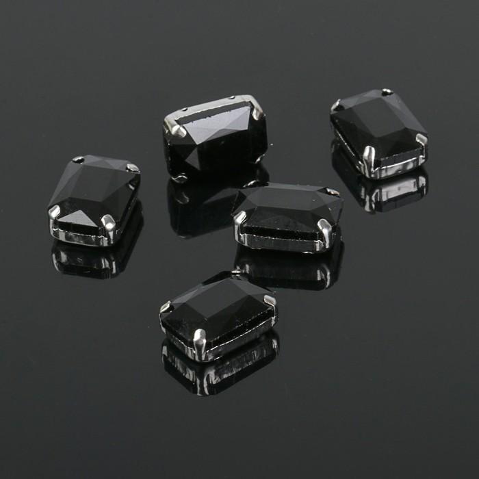 Стразы в цапах без отверстий (набор 5шт), 10*14мм, цвет черный в серебре