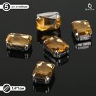 Стразы в цапах без отверстий (набор 5шт), 10*14мм, цвет коричневый в серебре - фото 698555
