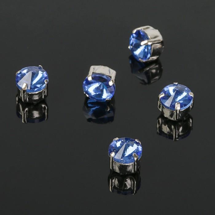 Стразы в цапах (набор 5 шт), 6*6мм, цвет голубой в серебре